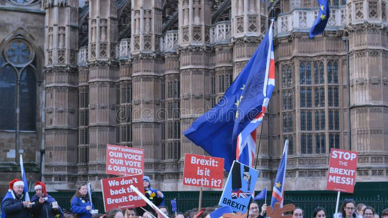 Brexit protest march and demonstration in London - LONDON, ENGLAND - DECEMBER 15, 2018 stock photos