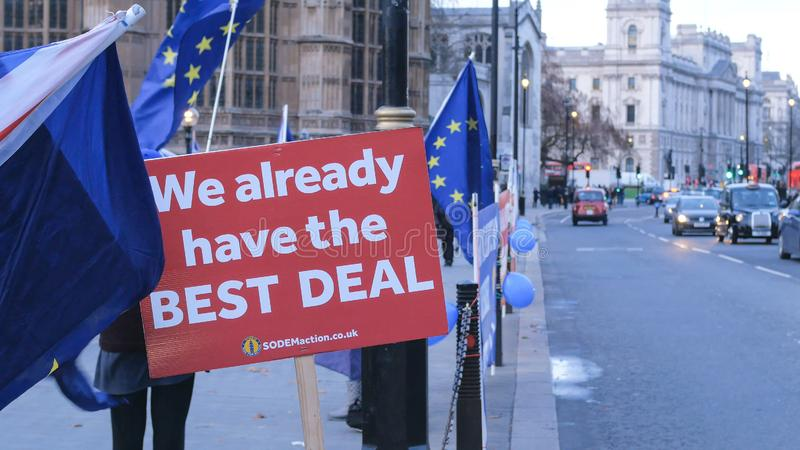 Brexit protest march and demonstration in London - LONDON, ENGLAND - DECEMBER 15, 2018 royalty free stock images