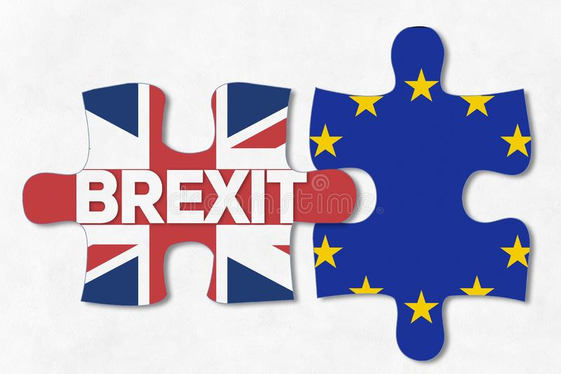 BREXIT with puzzle pieces royalty free illustration
