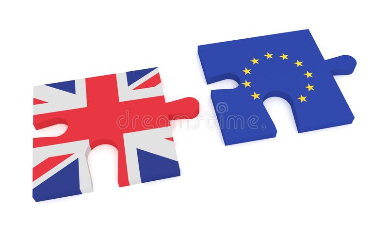 Puzzle Pieces Union Jack and EU Flag, 3d illustration royalty free illustration