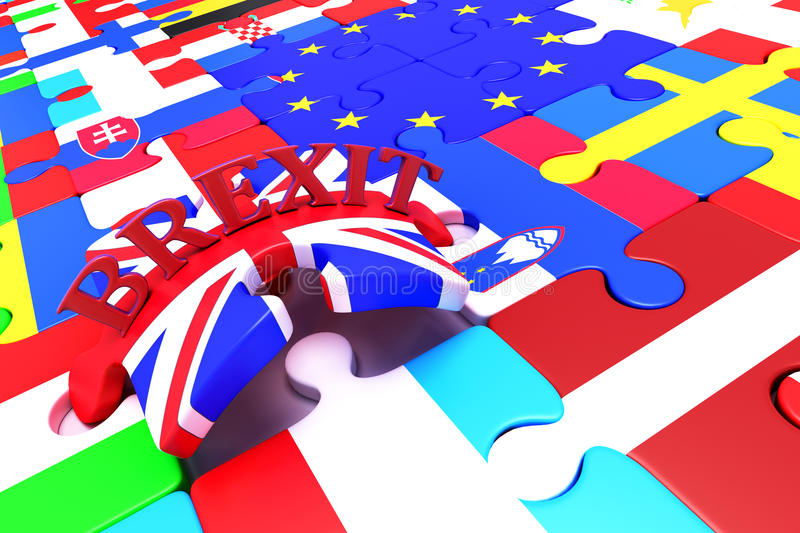 Brexit Puzzle Pieces stock illustration