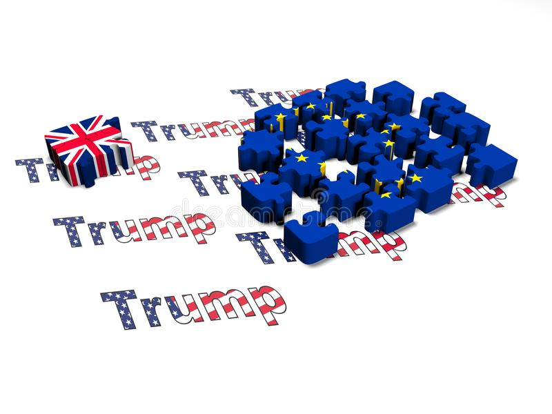Brexit Puzzle Pieces on a white background 3d render stock illustration