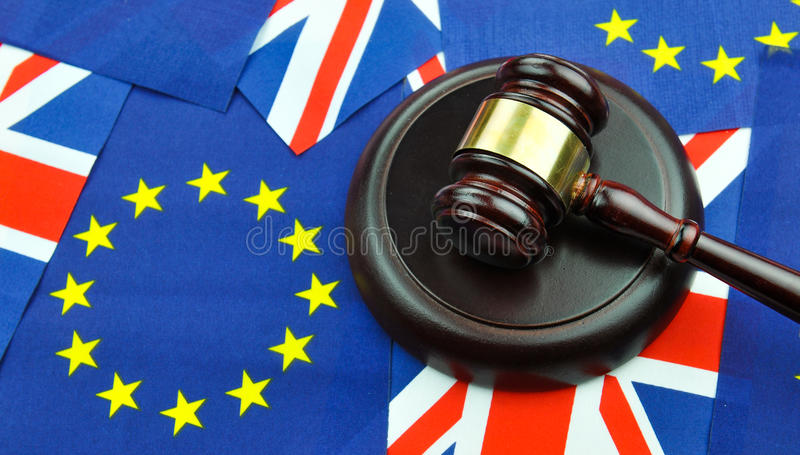 Brexit referendum concept. With EU and UK flags and gavel royalty free stock image