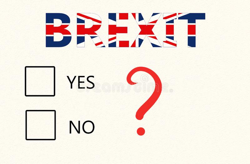 Brexit-Referendum-Konzept - ein Papier mit Checkboxes für ja oder nicht und Brexit-Aufschrift wählen auf der britischen Flagge stock abbildung