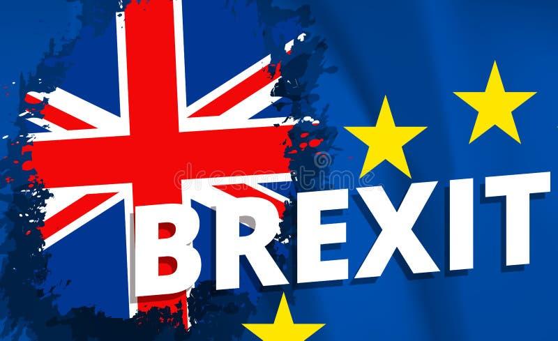 Brexit referendum UK Zjednoczone Królestwo lub Wielki Brytania wycofanie od e europejskiego zjednoczenia. - Flaga UK i UE pojęcia royalty ilustracja
