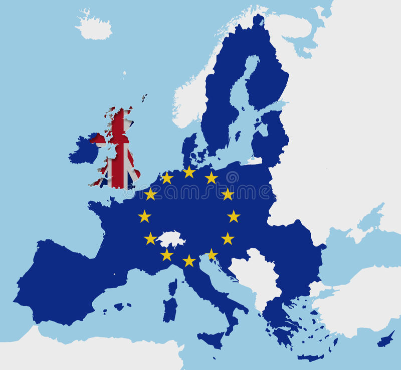 Brexit Regno Unito e le bandiere Europa della mappa di UE hanno tagliato il fx fotografie stock