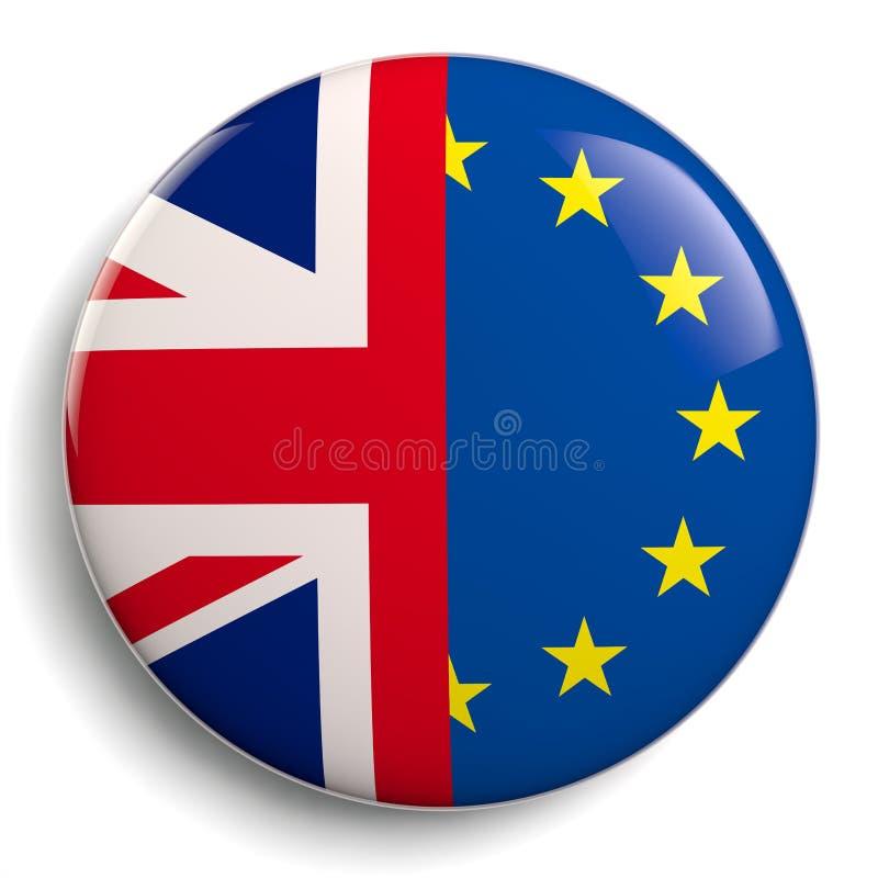 Brexit Regno Unito ed icona delle bandiere di UE illustrazione di stock