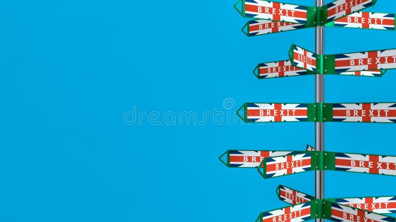 BREXIT - richtingstekens - hoe het verlof van het Verenigd Koninkrijk de Europese Unie zal vector illustratie