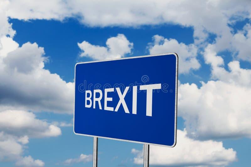 Brexit .Road Sign Depicting United Kingdom Departing European Uniun. Brexit Road Sign Depicting United Kingdom Departing European Uniun royalty free stock image