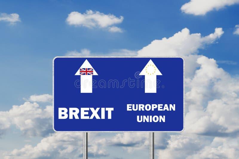 Brexit .Road Sign Depicting United Kingdom Departing European Uniun. Brexit Road Sign Depicting United Kingdom Departing European Uniun stock photos