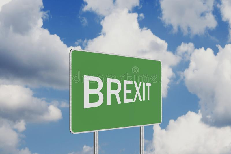 Brexit Road Sign Depicting United Kingdom Departing European Uniun. Brexit .Road Sign Depicting United Kingdom Departing European Uniun royalty free stock photos