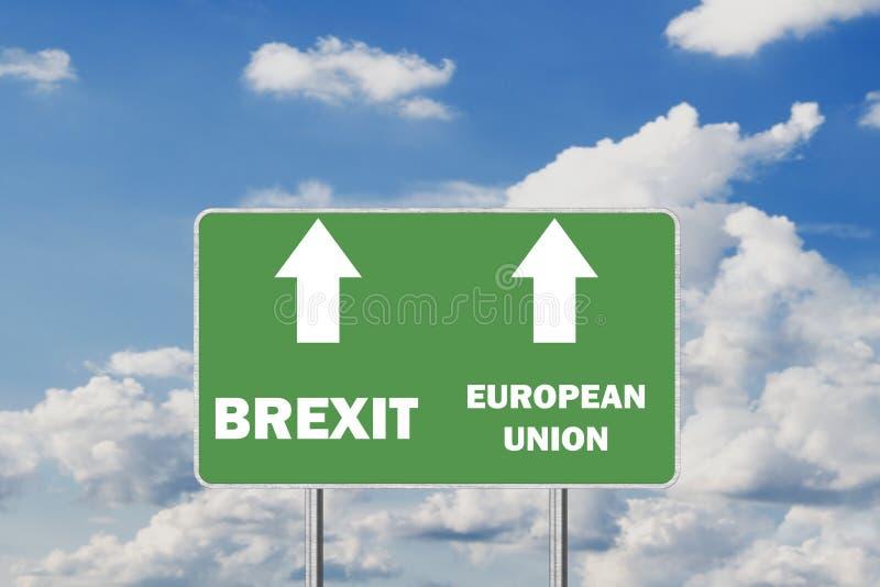 Brexit Road Sign Depicting United Kingdom Departing European Uniun. Brexit .Road Sign Depicting United Kingdom Departing European Uniun stock photos