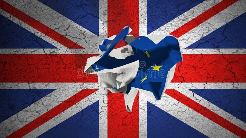 Brexit-Rollen zerknitterte Papier mit blauer EU-Flagge der Europäischen Gemeinschaft auf Flagge Schmutzgroßbritanniens Großbritan vektor abbildung