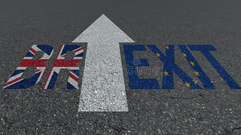 Brexit słowa Brytania Wielka UE zaznacza na drodze ilustracja wektor