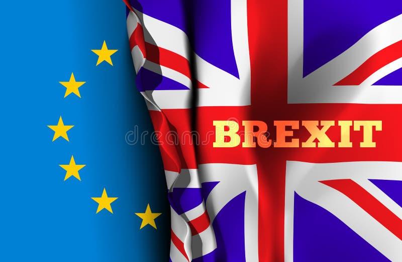 Brexit, a saída de Grâ Bretanha da União Europeia Ilustração do vetor com as bandeiras do Reino Unido e da UE ilustração do vetor