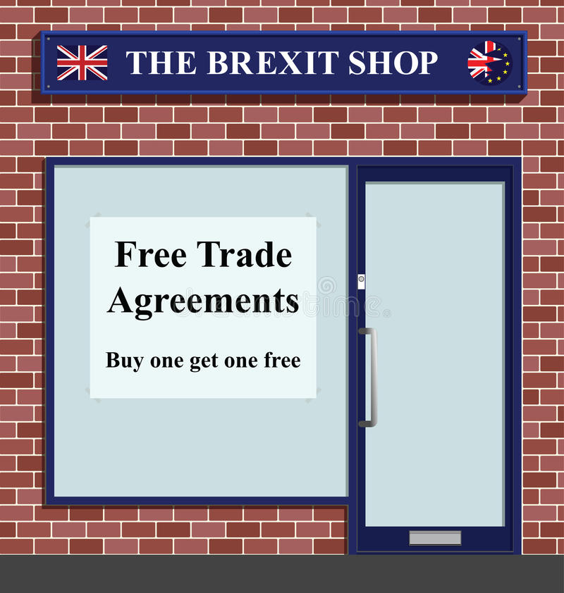 The Brexit Shop. Advertising free trade agreements following the United Kingdoms referendum to leave the European Unity royalty free illustration