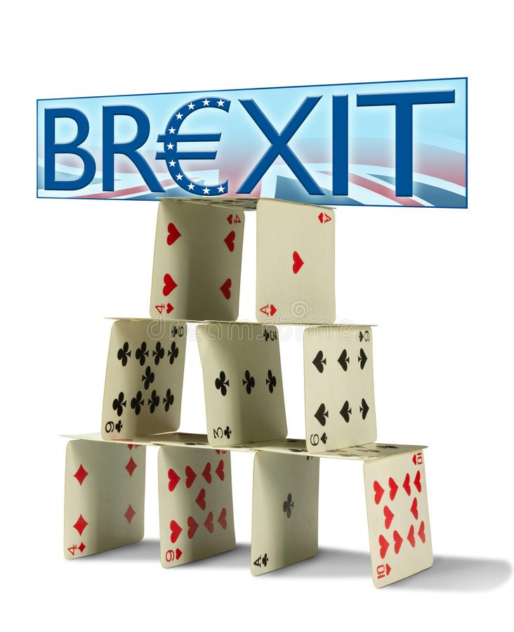 BREXIT sign with Great Britain flag in background on shaky house of cards representing the fragile United Kingdom economy stock images