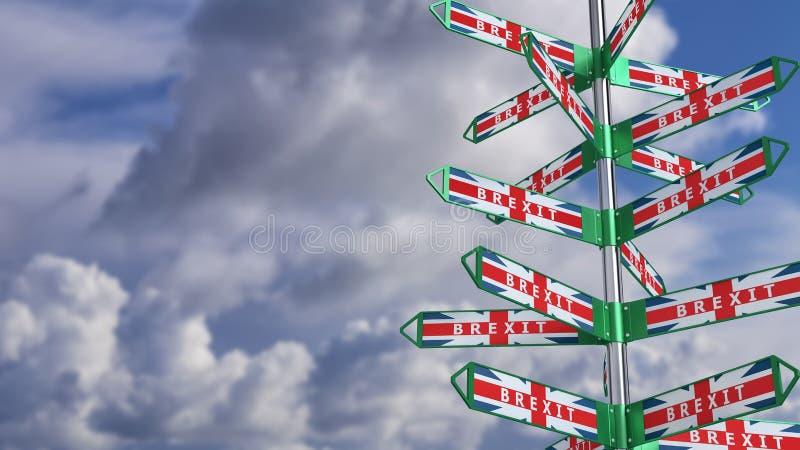 BREXIT - signaux de direction - comment le Royaume-Uni partira de l'Union européenne illustration de vecteur