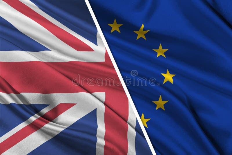 Brexit - silkeslena flaggor av europeisk union och Förenade kungariket vektor illustrationer