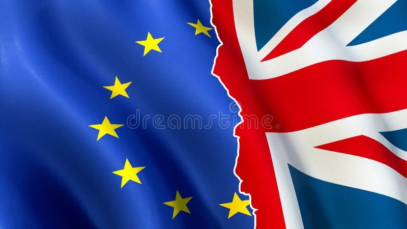 Brexit-Symbol - Europäische Gemeinschaft und BRITISCHE Flaggen auseinander stock abbildung