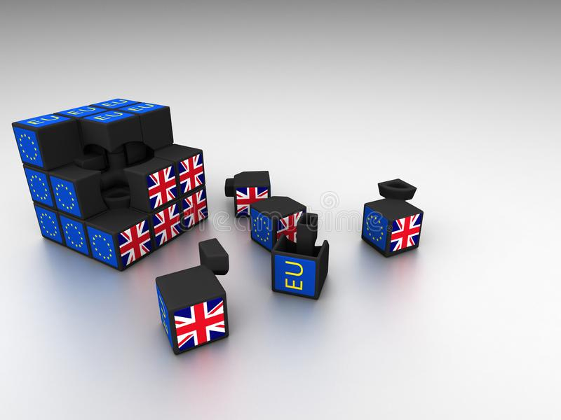 Brexit sześcianu metafora dla Brexit fiaska royalty ilustracja