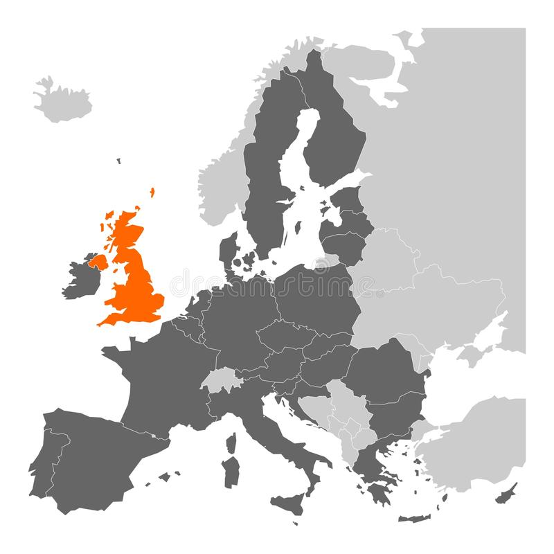 Brexit theme map - European Union with highlighted United Kingdom royalty free illustration