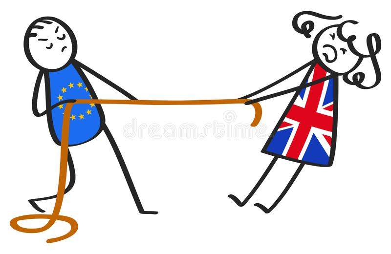 Brexit tug of war between EU and Great Britain, stick figures, man and woman, metaphor. Isolated on white background stock illustration