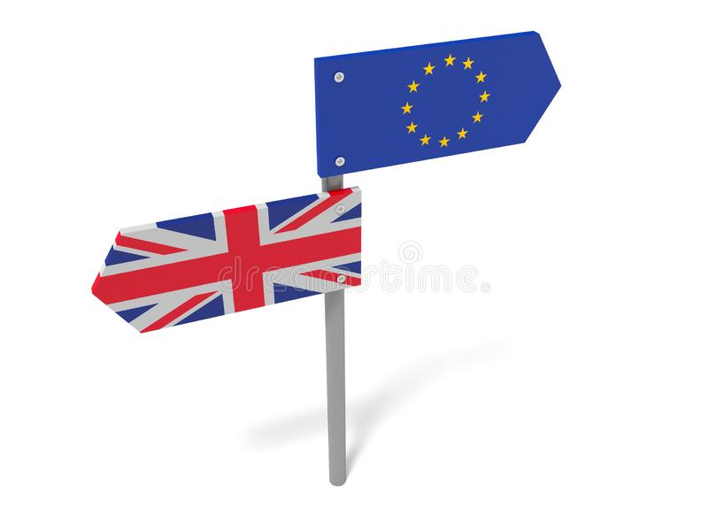Brexit: UK And EU Road Sign Pointing In Opposite Directions vector illustration