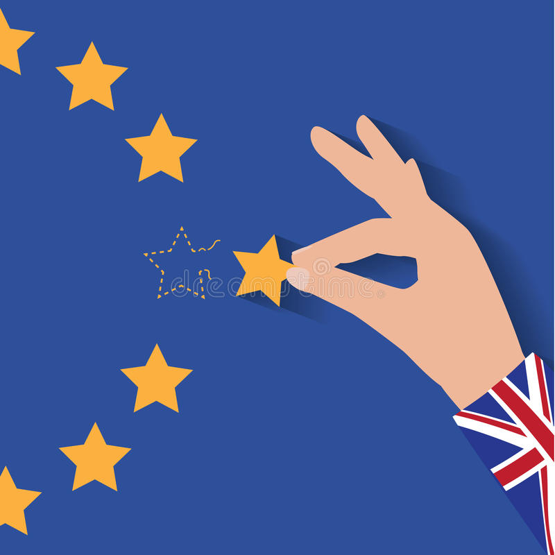 Brexit UK hand removing star from EU flag leaving just stitches behind. royalty free illustration