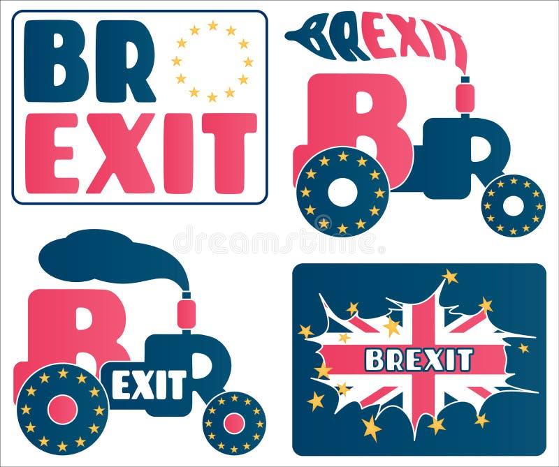 Brexit - UK wyjście od unii europejskiej UE Set kreskówki i pojęcia o Wielkim Brytania referendum ilustracji
