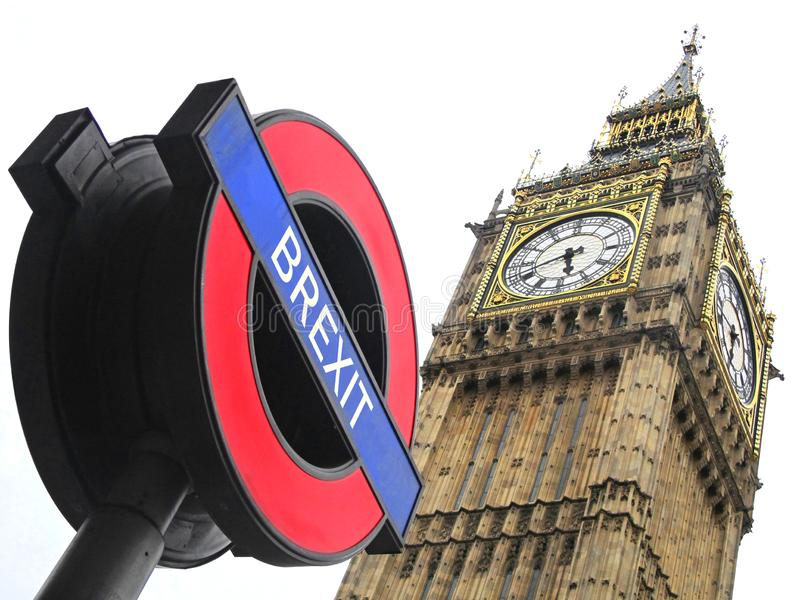 Brexit on underground sign with Big Ben background royalty free stock photo