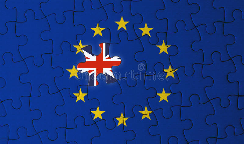 Brexit, United Kingdom and Europe Union jigsaw puzzle. Politic relationship between United Kingdom and Europe Union stock photo