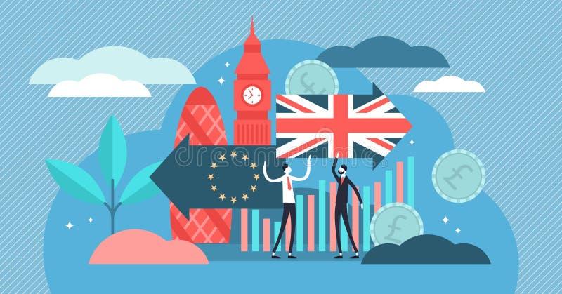 Brexit vectorillustratie Het uiterst kleine UK die de EU-het concept van referendumpersonen verlaten stock illustratie