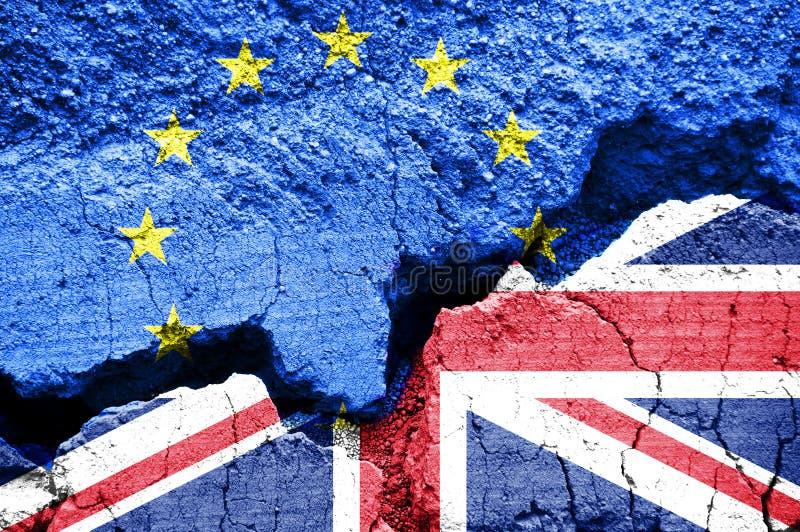 Brexit, Vlaggen van het Verenigd Koninkrijk en de Europese Unie stock foto