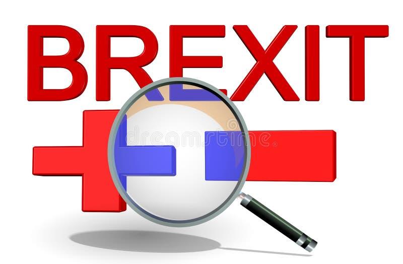 Brexit-Vorteilsnachteile ja jetzt plus Mangel + -, Wiedergabe 3d vektor abbildung