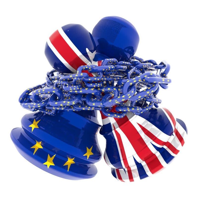 Brexit wantowy lepszy wpólnie, łańcuszkowy szachowy pionków 3d rendering royalty ilustracja