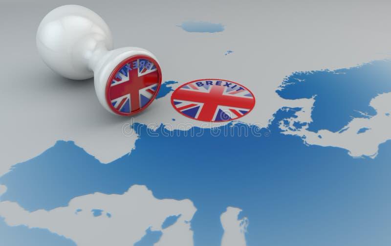 Brexit znaczek i mapa Europa, Anglia i wspólnota europejska, ilustracja wektor
