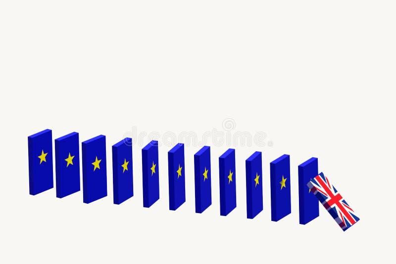 Brexitconcept het UK die de EU verlaten 3d geef terug vector illustratie