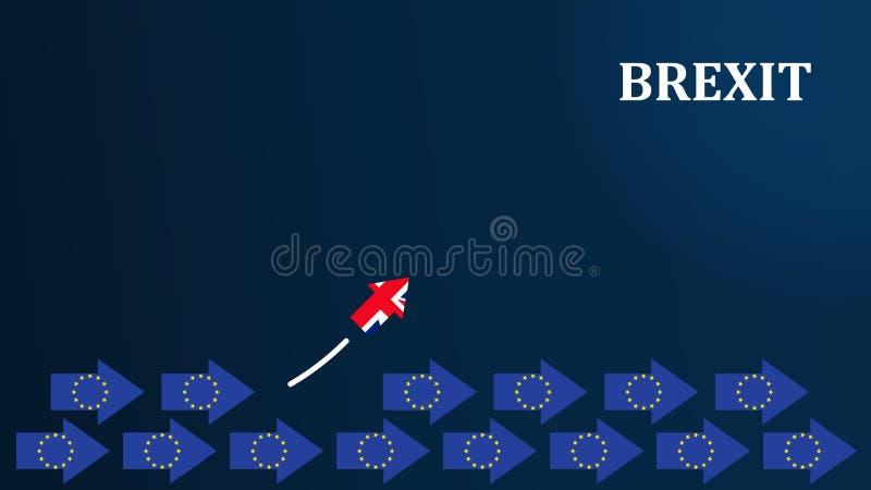 Brexitconcept Illustratie van Brexit met de Britse vlaggen van de EU en stock illustratie