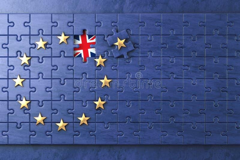 Brexitconcept Raadsel met E. - Europese Unie vlag zonder Grea vector illustratie