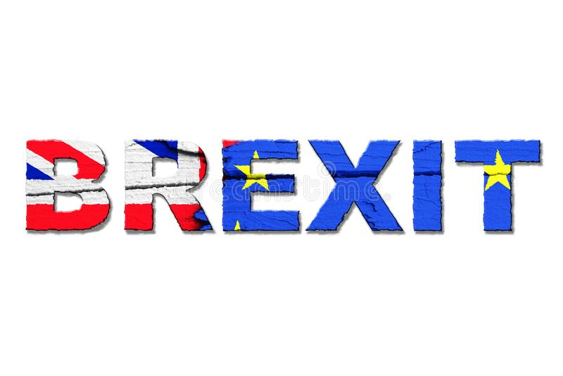 Brexitwoord met kleuren van de vlaggen van de Europese Unie EU en het Verenigd Koninkrijk het UK wordt geïsoleerd dat royalty-vrije stock fotografie