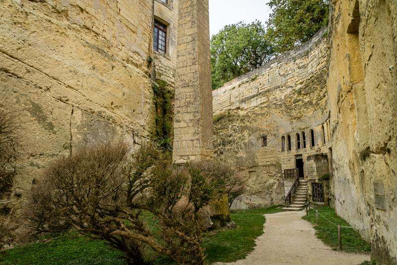 Brezé castle built underground in rock in France royalty free stock photos