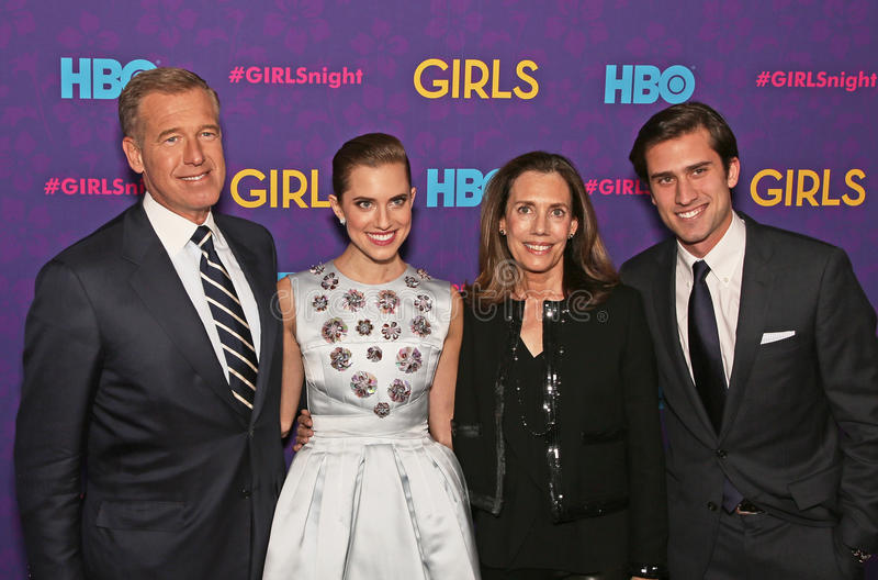 Brian Williams, Allison Williams, Jane Gillan Stoddard Williams, and Douglas Williams. The Williams clan of NBC anchor Brian, Girls actress Allison, wife Jane stock photo