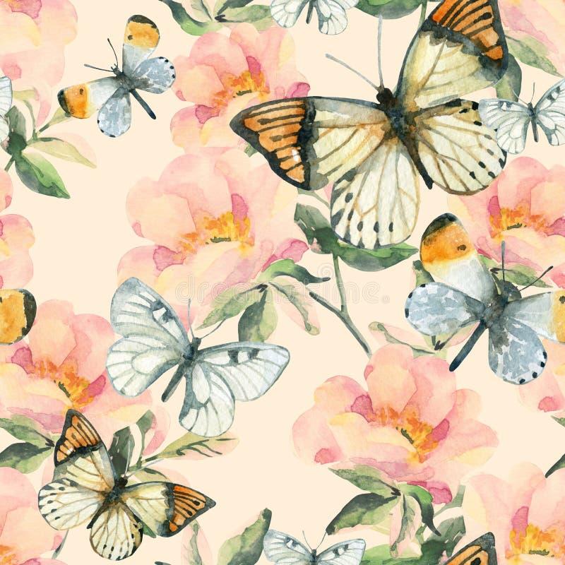 Briar λουλούδια Watercolor και άνευ ραφής σχέδιο πεταλούδων Το σκυλί αυξήθηκε κλάδοι στο εκλεκτής ποιότητας ύφος διανυσματική απεικόνιση