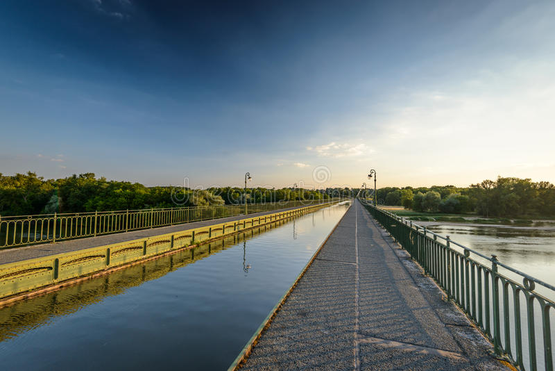 Briare. France, Bridge-canal intersection with Loire river royalty free stock photos