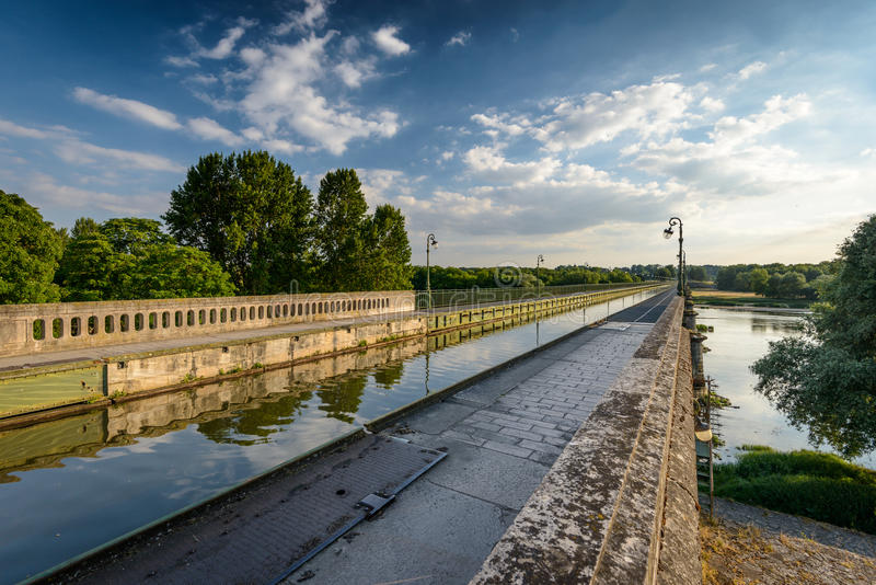 Briare. France, Bridge-canal intersection with Loire river stock image