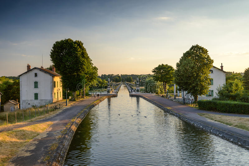Briare. France, Bridge-canal intersection with Loire river stock photos