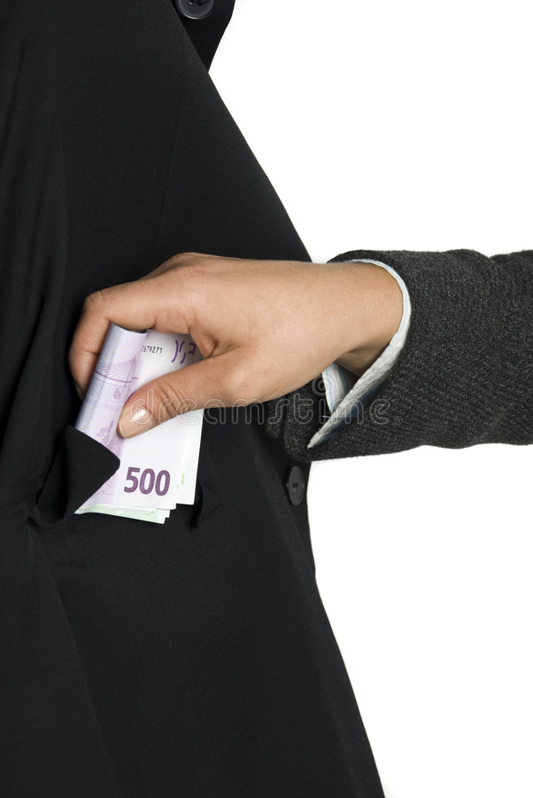 Bribe. Man take some bribe euro money royalty free stock photography