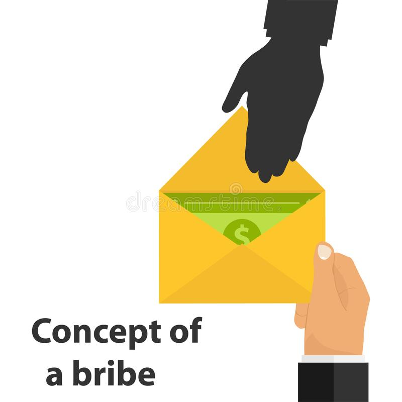 Bribe, concept of bribe. The hand gives an envelope with money. Corruption scheme. royalty free illustration