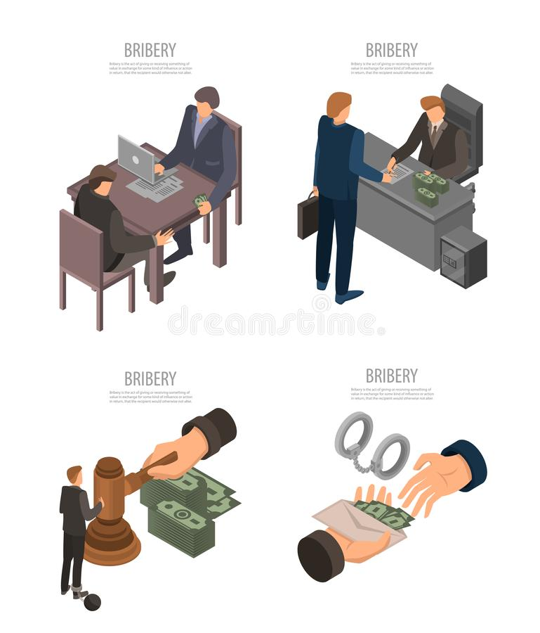 Bribery banner set, isometric style. Bribery banner set. Isometric set of bribery vector banner for web design stock illustration